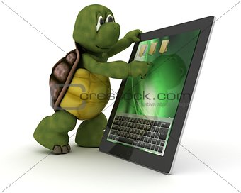Tortoise with tablet PC