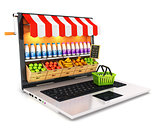 3d supermarket laptop