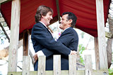 Happy Gay Couple Marries in the Park