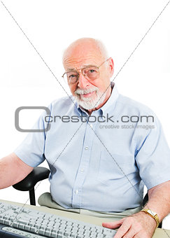 Senior Man Using Desktop Computer