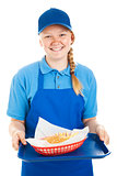 Teen Worker Serves Burger and Fries