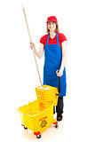 Teen Worker with Mop and Bucket
