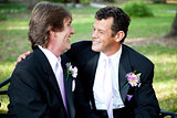Two Gay Grooms on Wedding Day