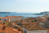 Panoramic view of down town Porec from the basilica tower, Istra