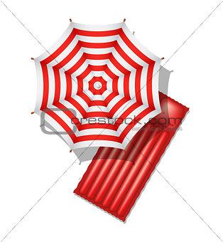 Beach umbrella and air mattress
