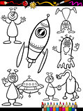 Aliens Cartoon Set for coloring book