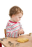 child baking cookies isolated on white background
