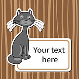 funny cartoon cat with a sign for text
