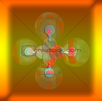 Group concentric artistic circles on gradient background.