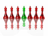 Conceptual image of false leadership. Chess. 3d