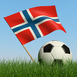 Soccer ball in the grass and flag of Norway.