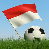 Soccer ball in the grass and flag of Monaco.