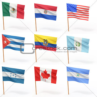 Flags of american country. Collection 4.