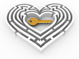 Key in the center of labyrinth in form of heart