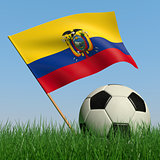 Soccer ball in the grass and the flag of Ecuador