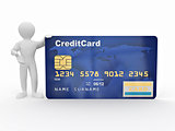 Men with credit card on white isolated background