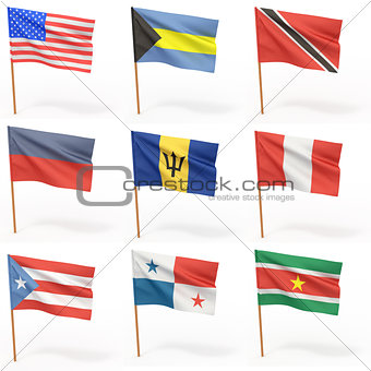 Flags of american country. Collection 5.
