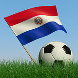 Soccer ball in the grass and the flag of Paraguay