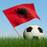 Soccer ball in the grass and flag of Albania.