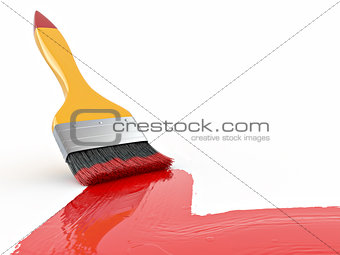 Paintbrush on white isolated background.