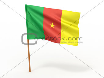 flag fluttering in the wind. Cameroon