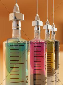 Four syringe with paints. CMYK. Conceptual images