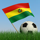 Soccer ball in the grass and the flag of Bolivia