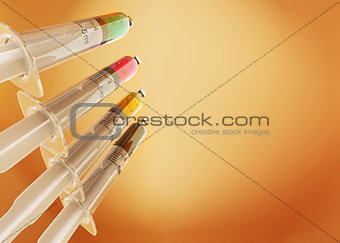 Four syringe with paints. CMYK. Conceptual images