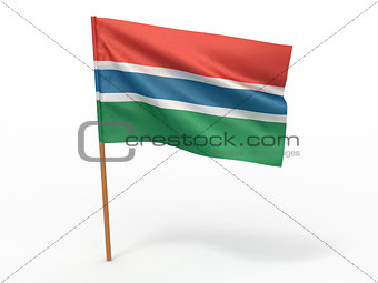 flag fluttering in the wind. Gambia