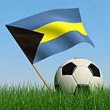 Soccer ball in the grass and the flag of Bahamas