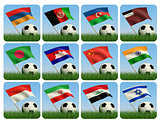 Asian flags and ball on grass. 3d