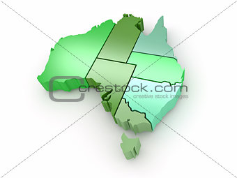 Three-dimensional map of Australia on white isolated background.