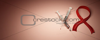 Aids. Syringes with blood and red ribbon