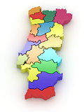 Three-dimensional map of Portugal. 3d