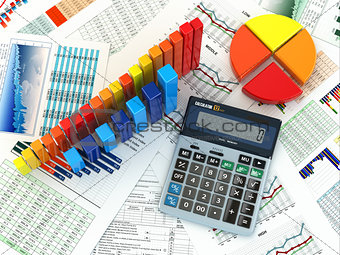 Business concept. Cslculator graph and charts. 3d