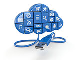 Cloud computing concept. Apps and usb.