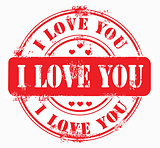 Postal stamp i love you. Vector illustration