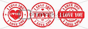 Postal stamp i love you. Vector
