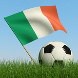 Soccer ball in the grass and flag of Ireland.