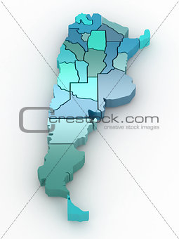 Three-dimensional map of Argentina. 3d