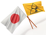 Japanese flag wiyh symbol of radiation