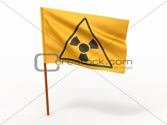 Flag with simbol of radiation. 3d