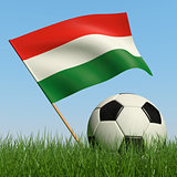 Soccer ball in the grass and flag of Hungary.