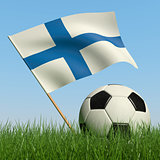 Soccer ball in the grass and flag of Finland.