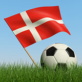 Soccer ball in the grass and flag of Denmark.