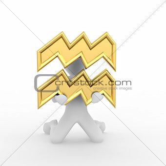 Aquarius. Man with astrological symbol