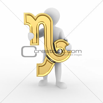 Capricorn. Man with astrological symbol