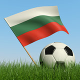 Soccer ball in the grass and flag of Bulgaria.