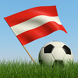 Soccer ball in the grass and flag of Austria.