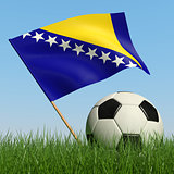 Soccer ball in the grass and flag of Bosnia and Herzegovina.